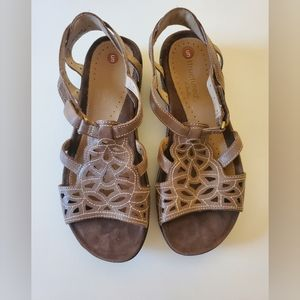 Clarks Unstructured Woven Brown Leather Sandals
